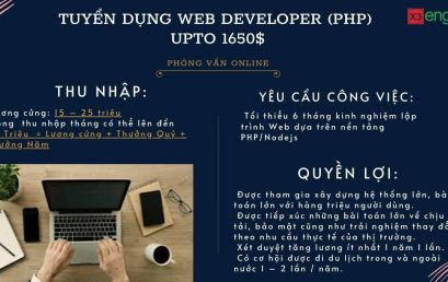 Tuyển dụng Web Developer (PHP, Nodejs) – Upto 1650$