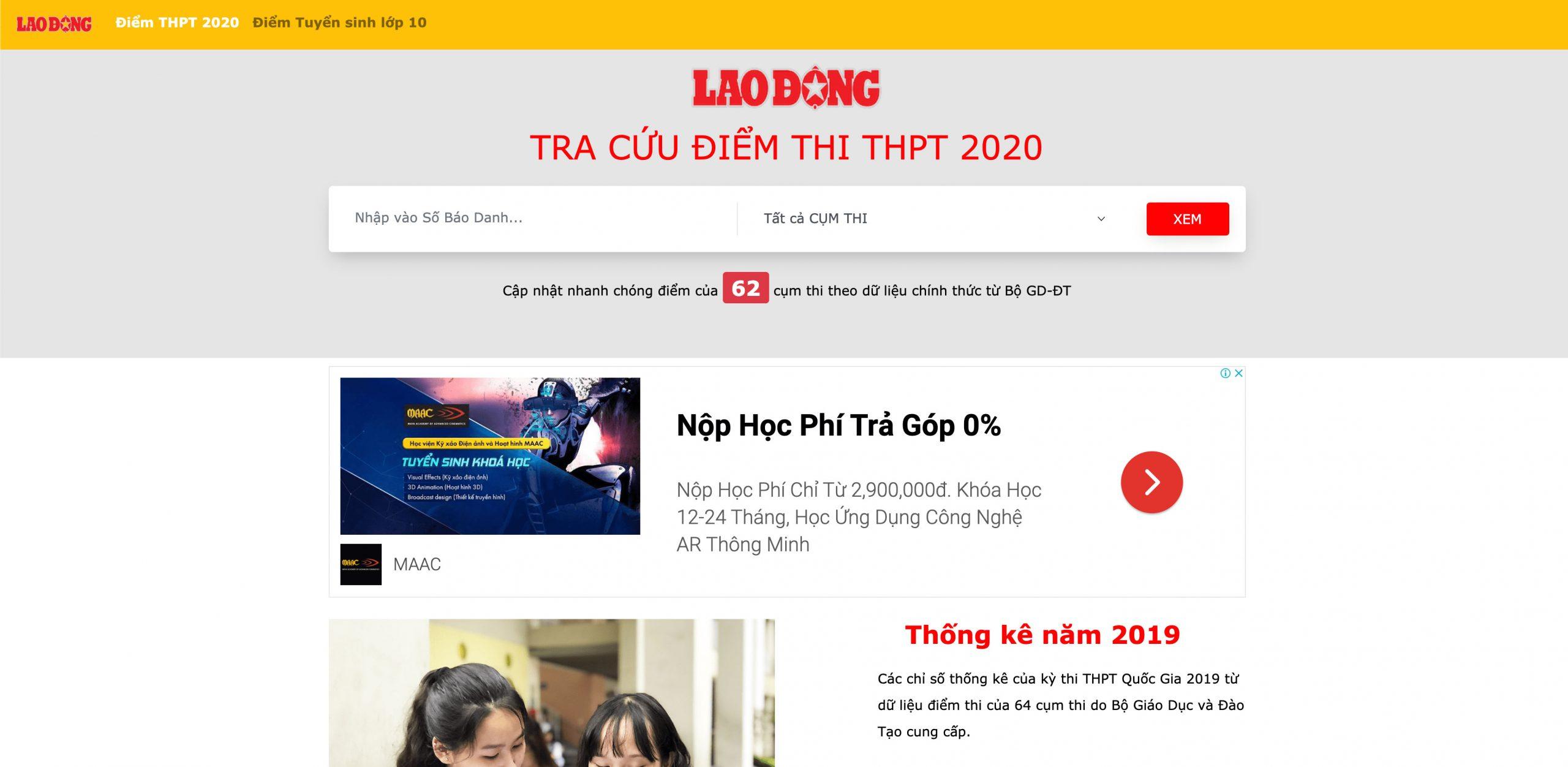 Một số trang tra cứu điểm thiTHPT Quốc gia 2020 theo số báo danh thí sinh: Báo Lao động