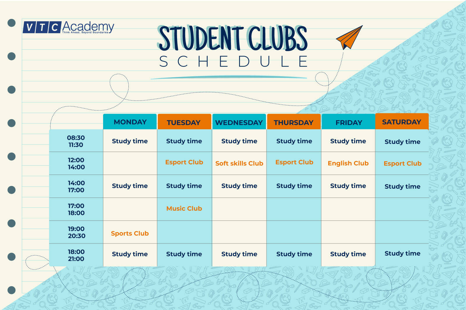 Schedule of student clubs in October 2020 at VTC Academy HCMC