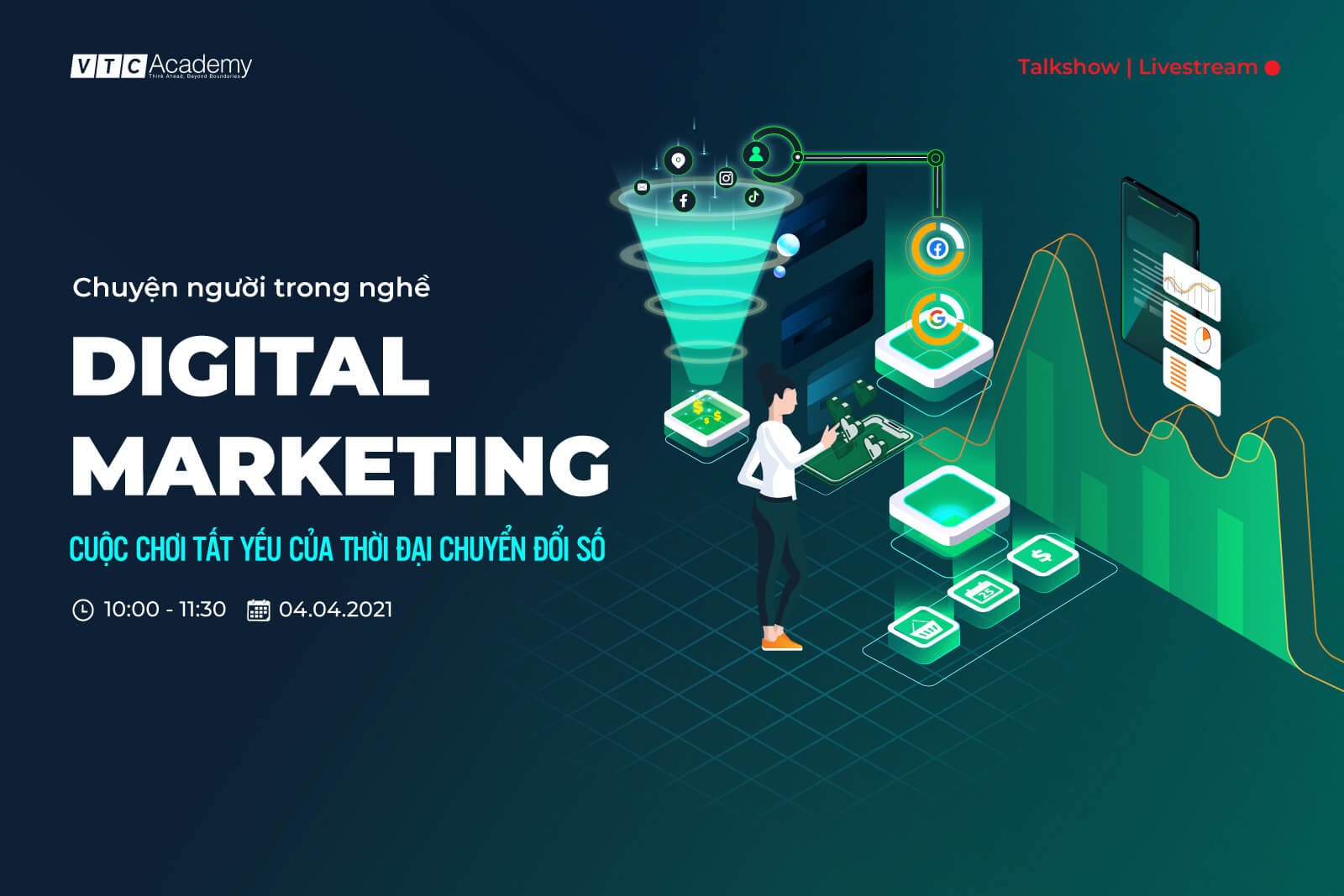 """Online Talkshow """"Story of people in the profession, Digital Marketing – The inevitable game in the age of digital transformation"""""""