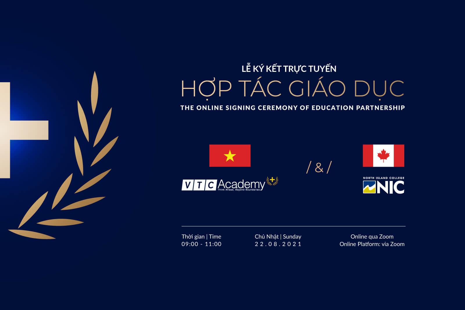 Lễ ký kết hợp tác giáo dục trực tuyến giữa VTC Academy và trường Cao đẳng Quốc tế North Island (NIC), Canada